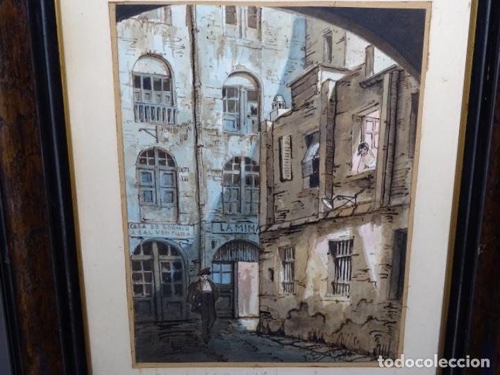 ACUARELA DE FRANCESC BUYE.CALLE DEL CID BARCELONA 1938.FONDA CAL VENTURA DE LA MINA. (Arte - Acuarelas - Contemporáneas siglo XX)