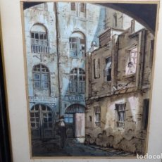 Arte: ACUARELA DE FRANCESC BUYE.CALLE DEL CID BARCELONA 1938.FONDA CAL VENTURA DE LA MINA.. Lote 225905973