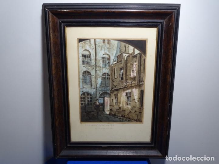 Arte: ACUARELA DE FRANCESC BUYE.CALLE DEL CID BARCELONA 1938.FONDA CAL VENTURA DE LA MINA. - Foto 2 - 225905973