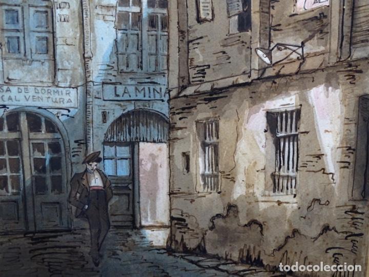 Arte: ACUARELA DE FRANCESC BUYE.CALLE DEL CID BARCELONA 1938.FONDA CAL VENTURA DE LA MINA. - Foto 4 - 225905973