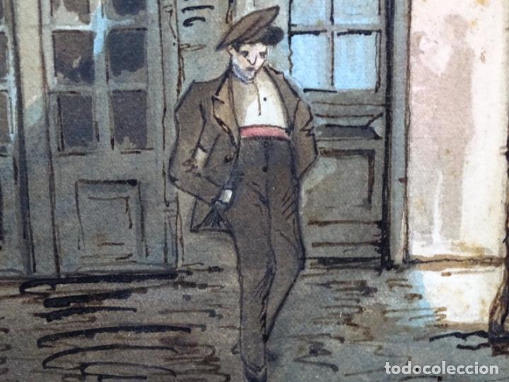 Arte: ACUARELA DE FRANCESC BUYE.CALLE DEL CID BARCELONA 1938.FONDA CAL VENTURA DE LA MINA. - Foto 5 - 225905973