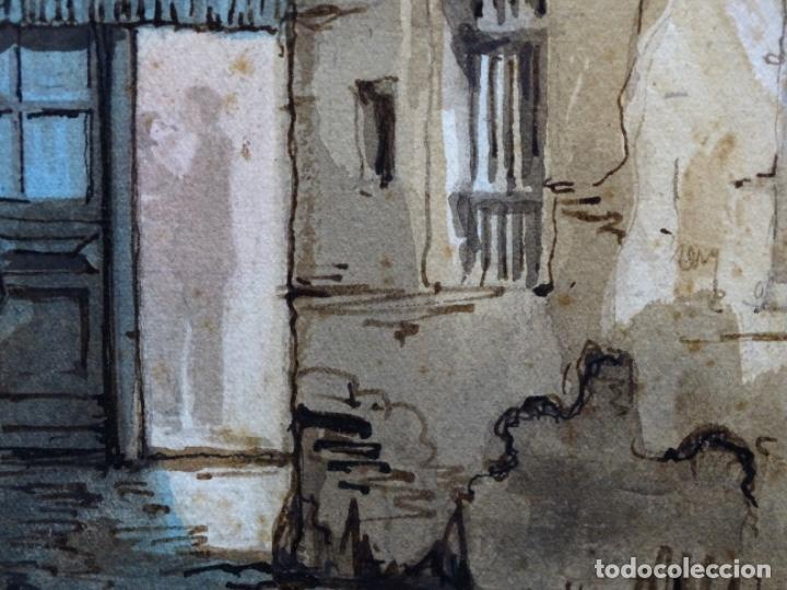 Arte: ACUARELA DE FRANCESC BUYE.CALLE DEL CID BARCELONA 1938.FONDA CAL VENTURA DE LA MINA. - Foto 6 - 225905973
