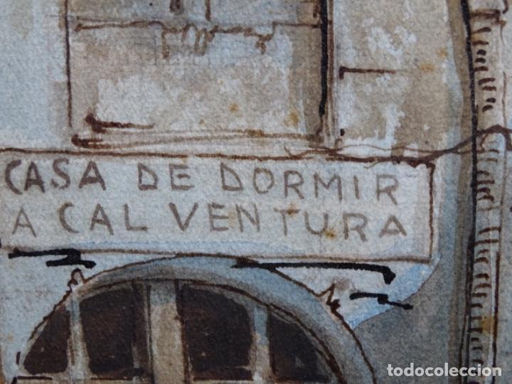 Arte: ACUARELA DE FRANCESC BUYE.CALLE DEL CID BARCELONA 1938.FONDA CAL VENTURA DE LA MINA. - Foto 9 - 225905973