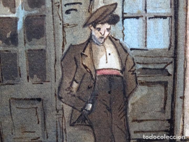 Arte: ACUARELA DE FRANCESC BUYE.CALLE DEL CID BARCELONA 1938.FONDA CAL VENTURA DE LA MINA. - Foto 11 - 225905973