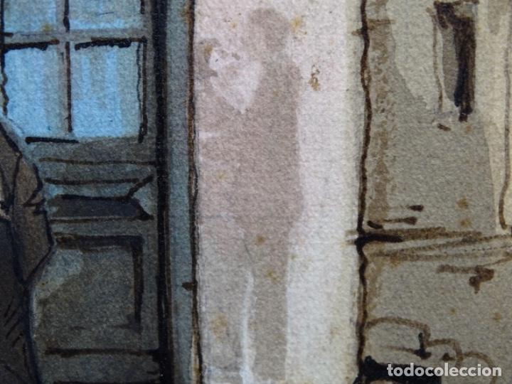 Arte: ACUARELA DE FRANCESC BUYE.CALLE DEL CID BARCELONA 1938.FONDA CAL VENTURA DE LA MINA. - Foto 13 - 225905973