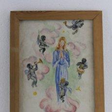 Arte: ACUARELA SOBRE PAPEL - VIRGEN CON ÁNGELES MÚSICOS NEGROS - FIRMADO LLUIS EN 1947. Lote 226035310