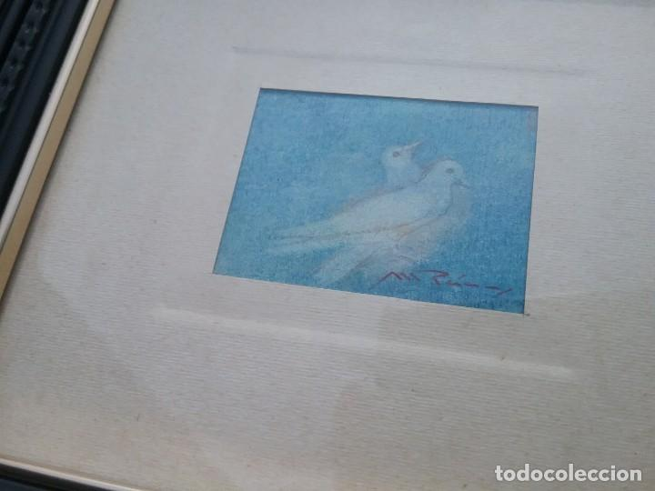 Arte: Preciosa acuarela motivo palomas con detalle firmada con marco de calidad - Foto 5 - 226101775