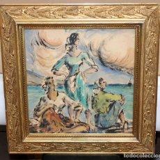 Arte: PERE PRUNA OCERANS (1904-1977), ACUARELA - 3 CHICAS EN LA PLAYA - 60 X 59 CM.. Lote 226339822