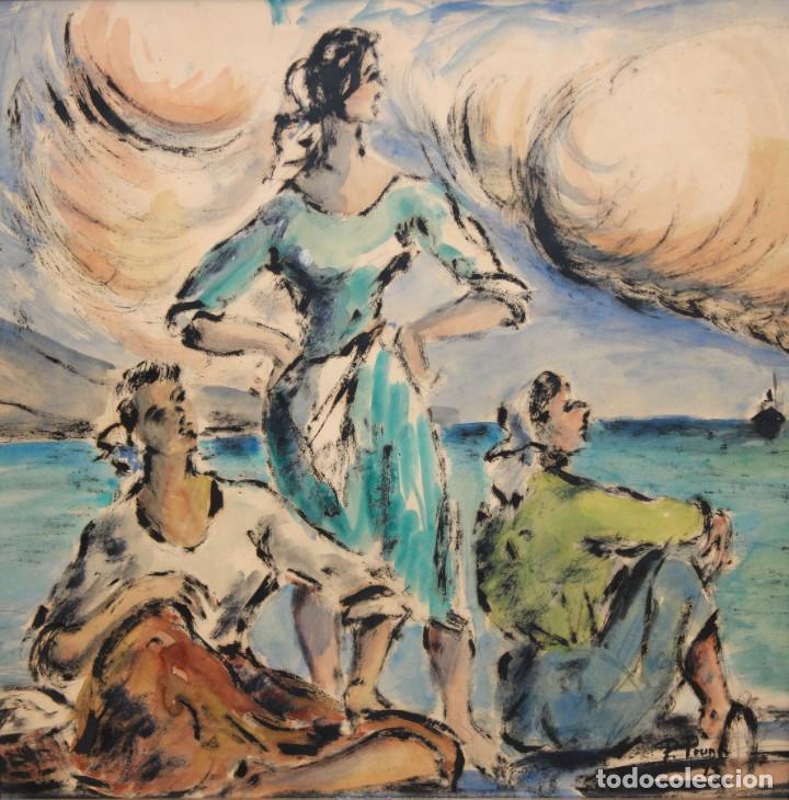 Arte: PERE PRUNA OCERANS (1904-1977), ACUARELA - 3 CHICAS EN LA PLAYA - 60 X 59 CM. - Foto 2 - 226339822