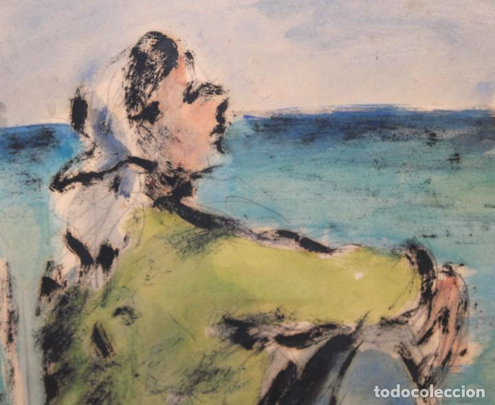 Arte: PERE PRUNA OCERANS (1904-1977), ACUARELA - 3 CHICAS EN LA PLAYA - 60 X 59 CM. - Foto 4 - 226339822