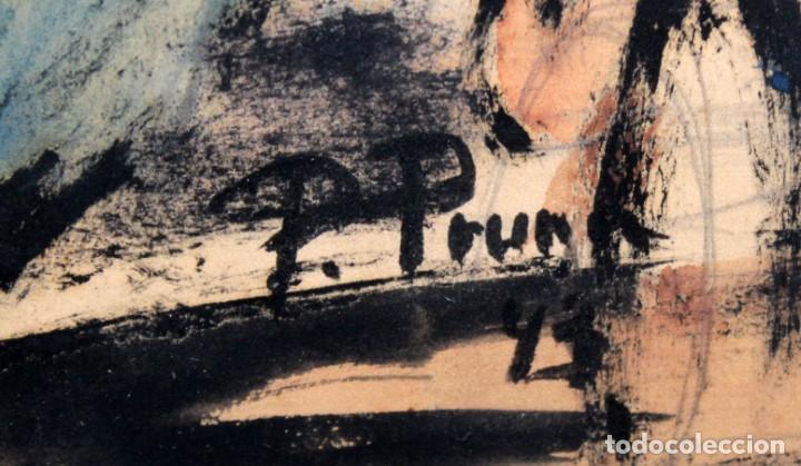 Arte: PERE PRUNA OCERANS (1904-1977), ACUARELA - 3 CHICAS EN LA PLAYA - 60 X 59 CM. - Foto 6 - 226339822