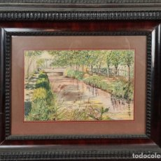 Arte: VISTA DE JARDIN. ACUARELA SOBRE PAPEL. FIRMADO L. BRUGUERS. 1938.. Lote 226437225