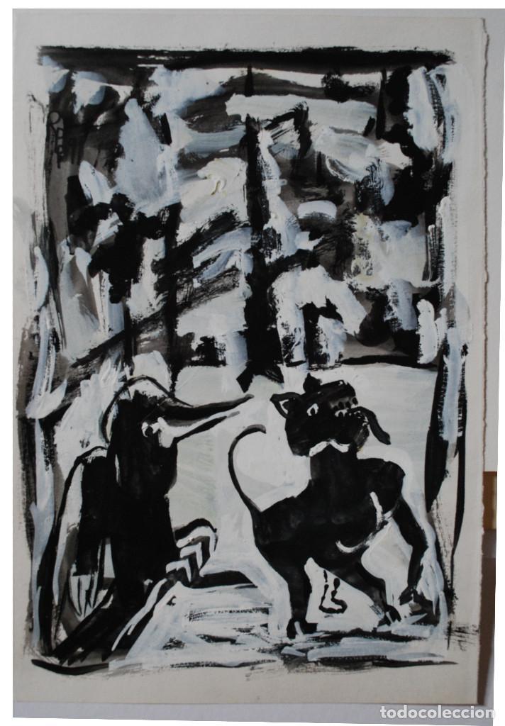 BRIGITTE MEYER.- NOCHE DE INVIERNO (GOUACHE) (VER FOTOS ADICIONALES) (Arte - Acuarelas - Contemporáneas siglo XX)