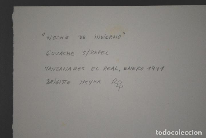 Arte: Brigitte Meyer.- Noche de Invierno (Gouache) (ver fotos adicionales) - Foto 5 - 226630820