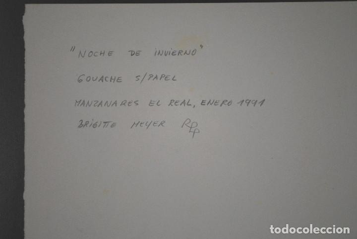 Arte: Brigitte Meyer.- Noche de Invierno (Gouache) (ver fotos adicionales) - Foto 8 - 226630820