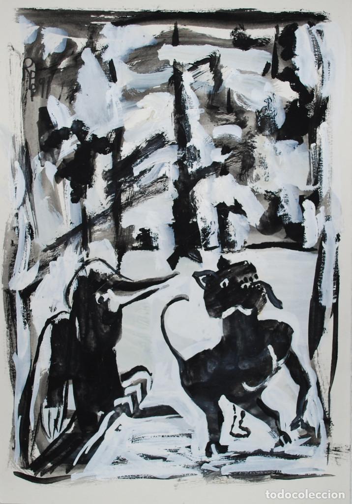 Arte: Brigitte Meyer.- Noche de Invierno (Gouache) (ver fotos adicionales) - Foto 9 - 226630820