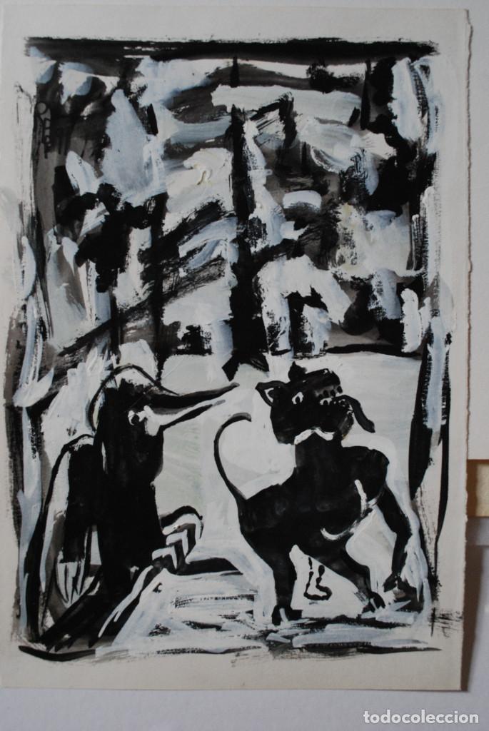 Arte: Brigitte Meyer.- Noche de Invierno (Gouache) (ver fotos adicionales) - Foto 11 - 226630820