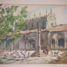 Art: PRECIOSA ACUARELA BURGOS CARTUJA MIRAFLORES CARLOS SANCHEZ C. 1960. Lote 226635300