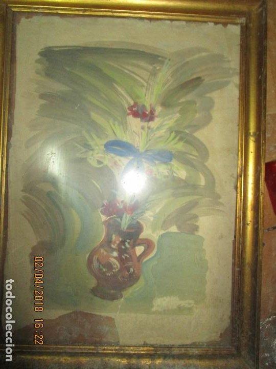 Arte: gran acuarela jarron años 50 deteriorada procede de alicante grandes dimensiones - Foto 8 - 226786250