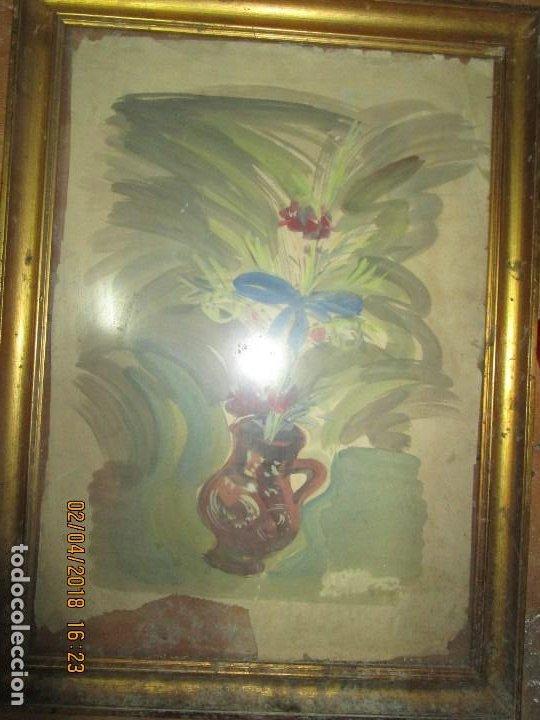 GRAN ACUARELA JARRON AÑOS 50 DETERIORADA PROCEDE DE ALICANTE GRANDES DIMENSIONES (Arte - Acuarelas - Contemporáneas siglo XX)