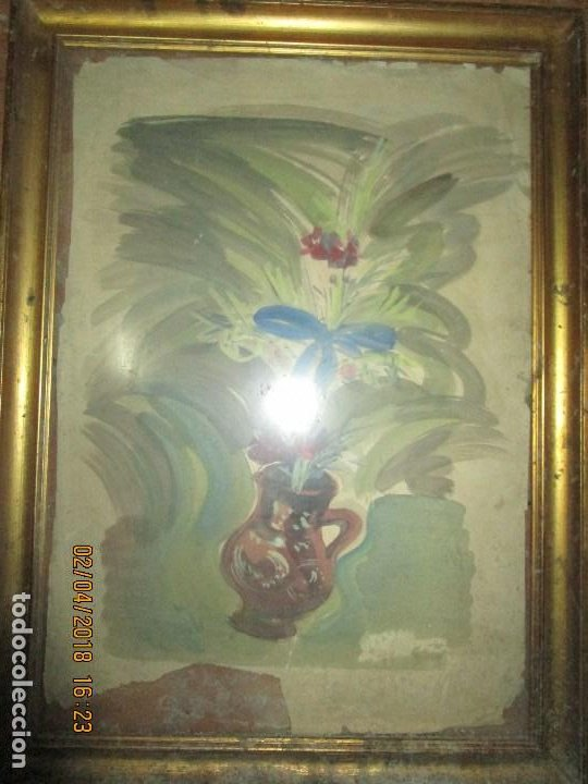 Arte: gran acuarela jarron años 50 deteriorada procede de alicante grandes dimensiones - Foto 2 - 226786250