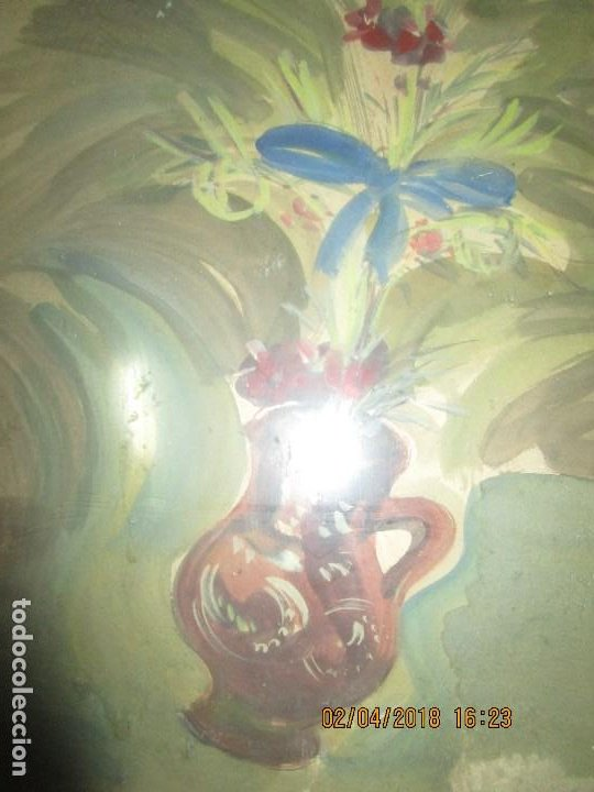 Arte: gran acuarela jarron años 50 deteriorada procede de alicante grandes dimensiones - Foto 3 - 226786250