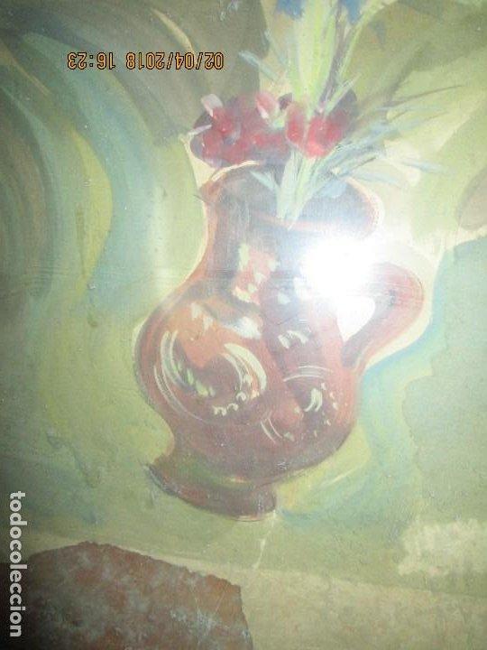 Arte: gran acuarela jarron años 50 deteriorada procede de alicante grandes dimensiones - Foto 4 - 226786250