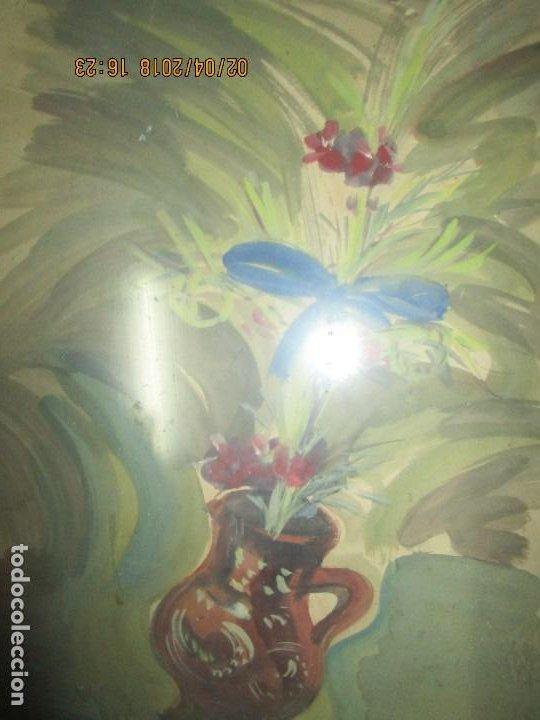 Arte: gran acuarela jarron años 50 deteriorada procede de alicante grandes dimensiones - Foto 5 - 226786250