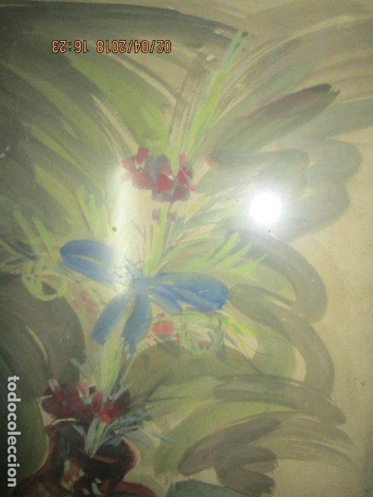 Arte: gran acuarela jarron años 50 deteriorada procede de alicante grandes dimensiones - Foto 6 - 226786250