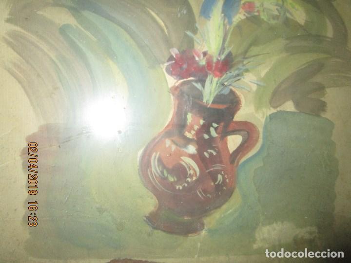 Arte: gran acuarela jarron años 50 deteriorada procede de alicante grandes dimensiones - Foto 7 - 226786250