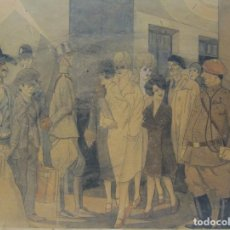"Arte: PEDRO ANTEQUERA AZPIRI. ""RASGOS FRONTERIZOS"" . HACIA 1940. TINTA Y ACUARELA.30 X 40 CM. Lote 36221253"