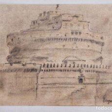 Arte: EXCELENTE DIBUJO ORIGINAL FIRMADO, CASTILLO DE SANT'ANGELO DE ROMA, GRAN DETALLISMO CALIDAD, 1870. Lote 227479320