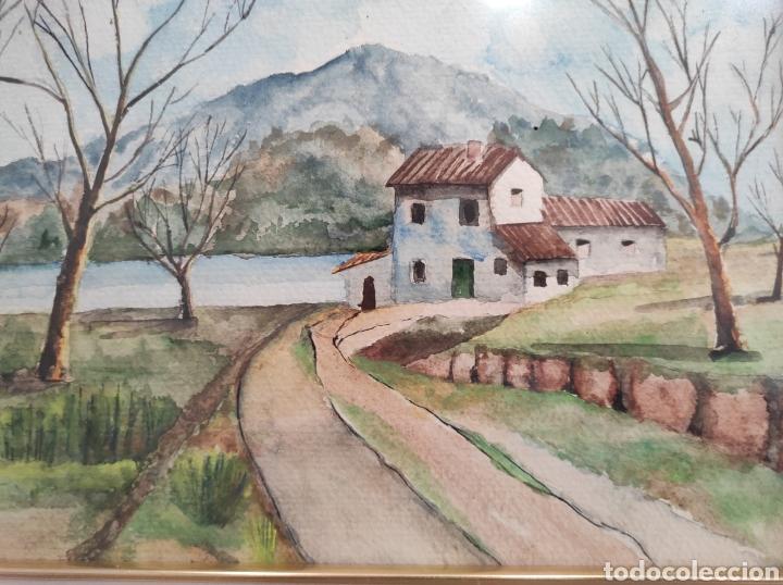 Arte: Paisaje rural, acuarela sobre papel. Autor anónimo. enmarcado. 52x42cm - Foto 3 - 227490535