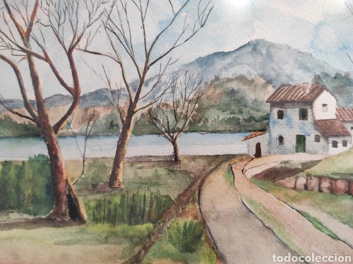 Arte: Paisaje rural, acuarela sobre papel. Autor anónimo. enmarcado. 52x42cm - Foto 4 - 227490535