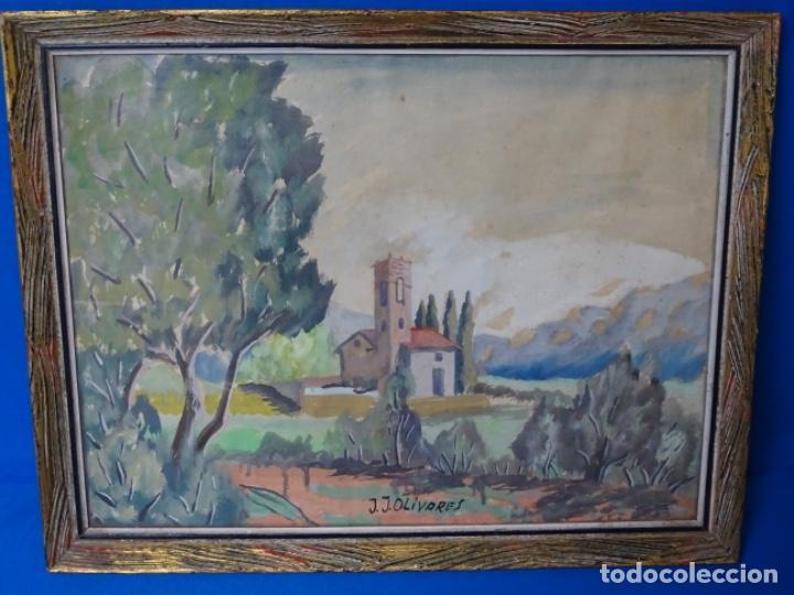 ACUARELA FIRMADA J. J. OLIVARES. (Arte - Acuarelas - Contemporáneas siglo XX)