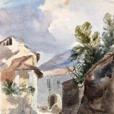 """Arte: PEDRO PÉREZ DE CASTRO. ACUARELA. """"EL ALBAICIN DE GRANADA"""". Lote 227675040"""