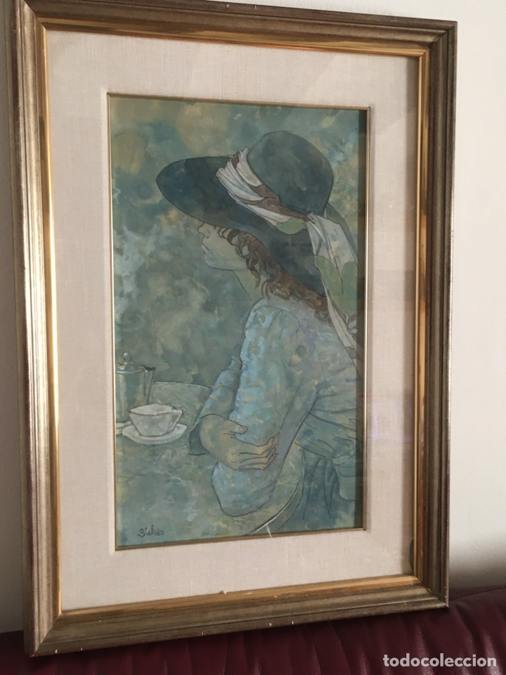 Arte: ALEXANDRE SICHES PIERA (BCN 1921-2009) Dibujo con retrato femenino - Foto 2 - 228095975