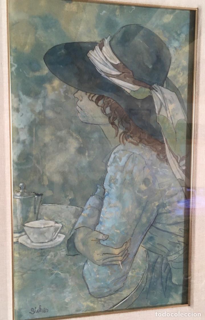 Arte: ALEXANDRE SICHES PIERA (BCN 1921-2009) Dibujo con retrato femenino - Foto 3 - 228095975