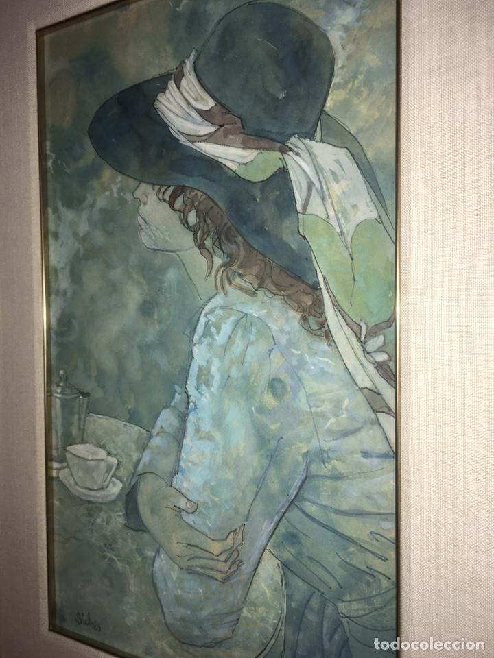 Arte: ALEXANDRE SICHES PIERA (BCN 1921-2009) Dibujo con retrato femenino - Foto 4 - 228095975