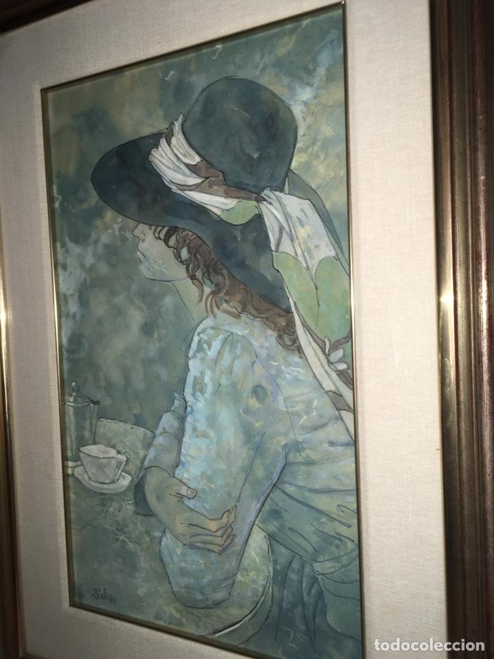 Arte: ALEXANDRE SICHES PIERA (BCN 1921-2009) Dibujo con retrato femenino - Foto 5 - 228095975