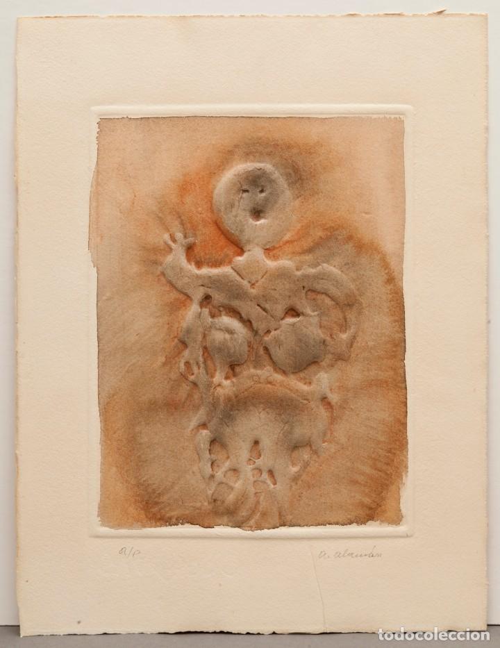 AGUSTÍN ALAMÁN - ACUARELA Y GOFRADO (Arte - Acuarelas - Contemporáneas siglo XX)
