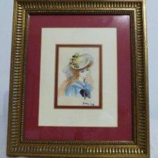 Arte: EMILI GRAU SALA - NIÑA CON SOMBRERO - ACUARELA. Lote 228819125