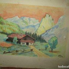 Arte: ANTIGUA ACUARELA FIRMADA EN 1952 PAISAJE MONTAÑES Y CASERIO. Lote 229408715