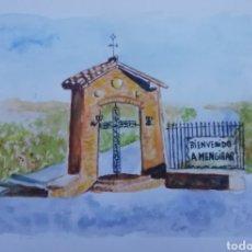 Arte: ACUARELA-- ANTIGUO MONUMENTO BIENVENIDO A MENGIBAR. Lote 229602635