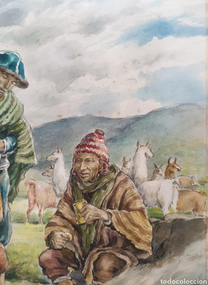 Arte: Xavier Tulla - Escena Costumbrista en los Andes Peruanos.Firmada.1969. - Foto 4 - 229586270