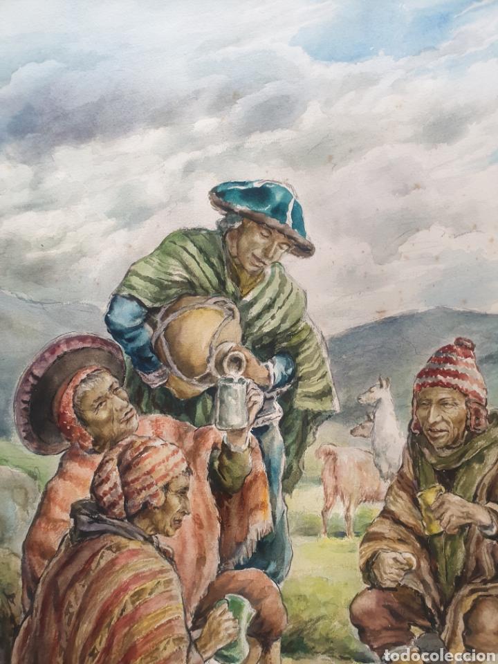 Arte: Xavier Tulla - Escena Costumbrista en los Andes Peruanos.Firmada.1969. - Foto 5 - 229586270