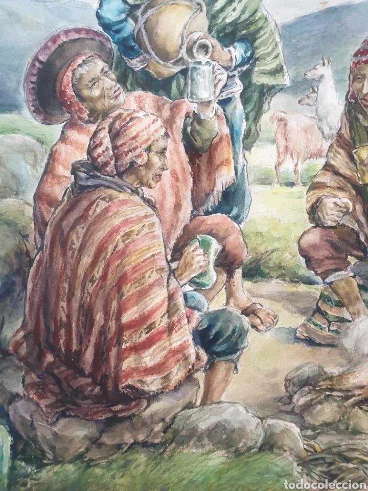 Arte: Xavier Tulla - Escena Costumbrista en los Andes Peruanos.Firmada.1969. - Foto 6 - 229586270