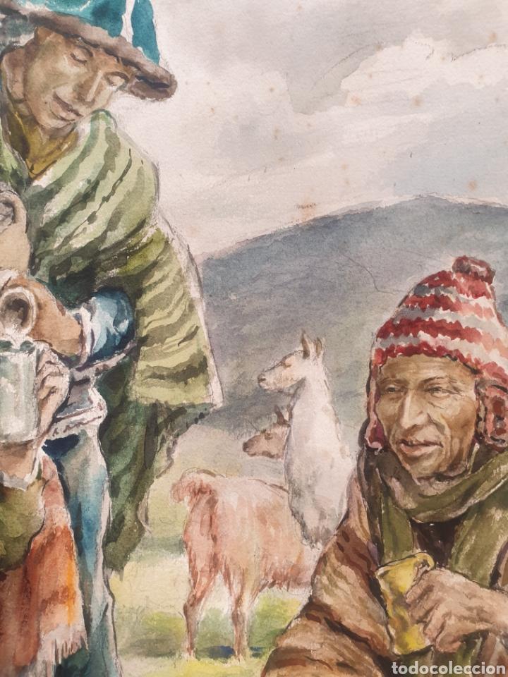 Arte: Xavier Tulla - Escena Costumbrista en los Andes Peruanos.Firmada.1969. - Foto 8 - 229586270