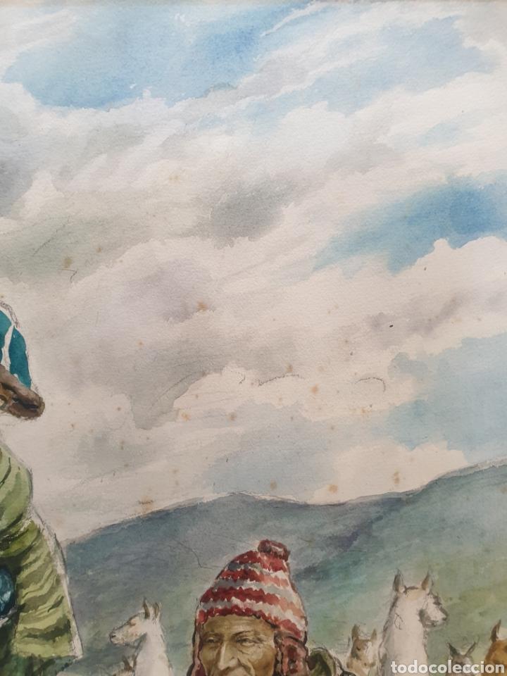 Arte: Xavier Tulla - Escena Costumbrista en los Andes Peruanos.Firmada.1969. - Foto 10 - 229586270