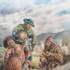 Art: XAVIER TULLA - ESCENA COSTUMBRISTA EN LOS ANDES PERUANOS.FIRMADA.1969.. Lote 229586270